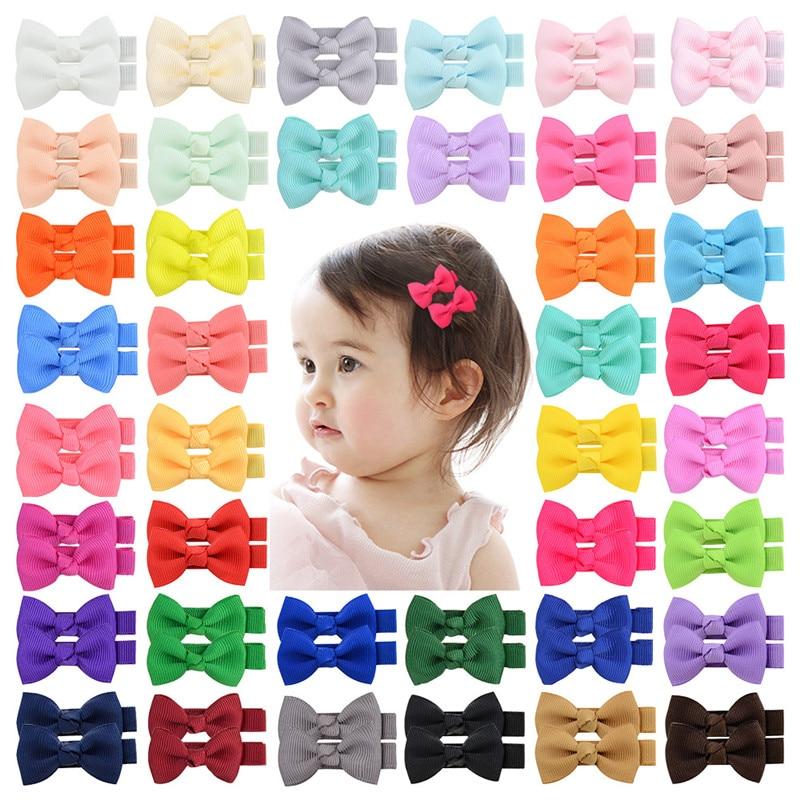 50PCS Baby Kids Girls Hair Clips Grip Headwear Ribbon Hair Accessories