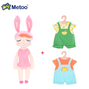 Metoo 43cm Angela Doll Kids Plush Sweet Cute Rabbit Lovely Stuffed Dress up Dolls Baby Toys for Girls Birthday Christmas Gift(China)