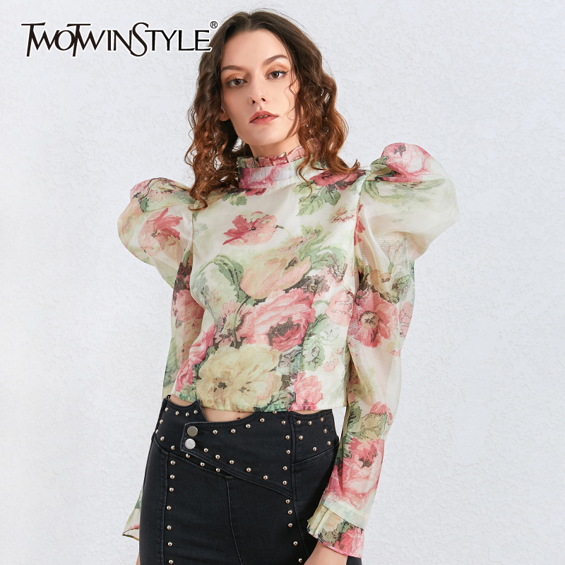 TWOTWINSTYLE Casual Ruffles Blouses For Female Turtleneck Puff Long Sleeve Tunic Ruched Women Shirt Fashion Clothing 2020 Tide