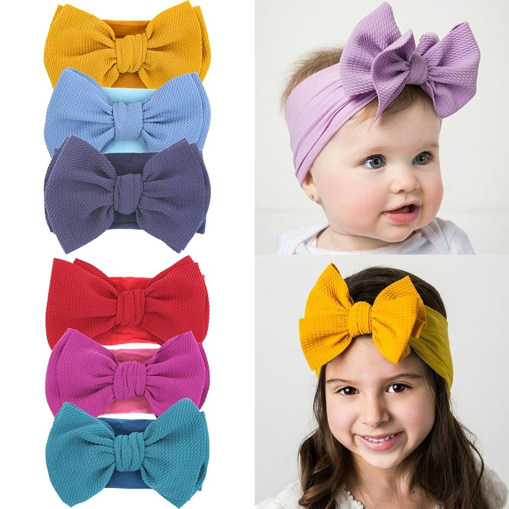 3Pcs/lot Baby Girl Headband For Children Baby Hair Accessories Nylon Bowknot Hair Bands Infant Turba