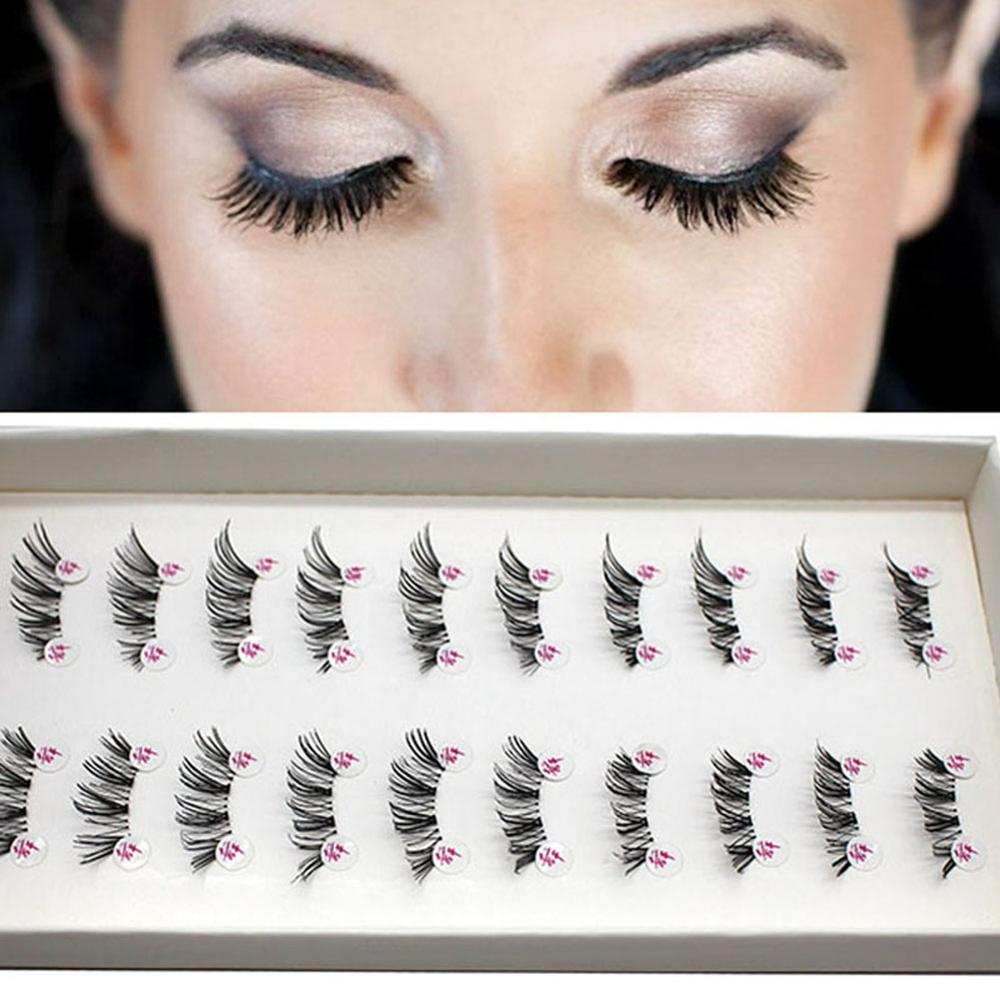 <font><b>10</b></font> <font><b>Pairs</b></font> Half False <font><b>Eyelashes</b></font> Natural Crisscross Messy Thick Soft Fake <font><b>Eyelashes</b></font> 100% Handmade Transparent Stems Makeup Lashes image