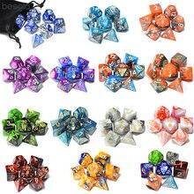 Смешанные Цвет набор Игральный костей для ролевых игр с черный бархатный чехол D4 D6 D8 D10 D % D12 D20