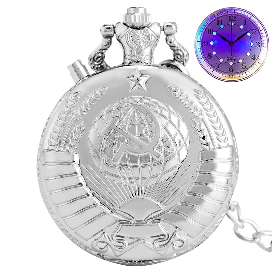 Luminous LED USSR Soviet Sickle Hammer Style Quartz Pocket Watch Chain CCCP Russia Emblem Communism Light Necklace Watches Gifts