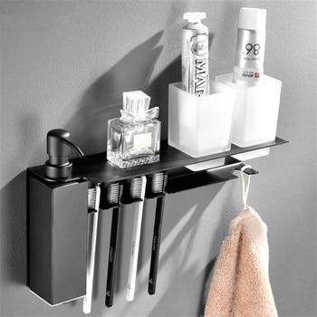 Bathroom Shelf Stainless Steel Multi-functional Toothbrush Holder Wall-Mounted Soap Liquid Dispenser Storage Rack Towel Hooks