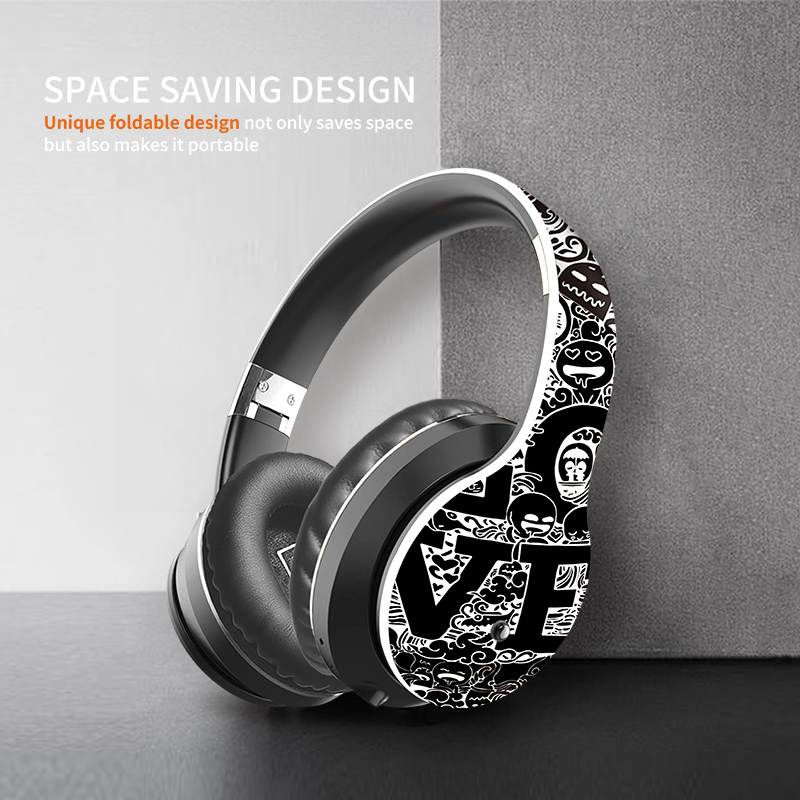 IKOLE Wireless Headset Bluetooth 5.0 Fashionable Graffiti Headphone Foldablel Bass Stereo Gaming Earphone Support Mic/TF/ Radio
