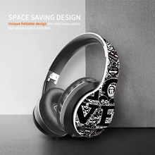 IKOLE Wireless Headset Bluetooth 5.0 Fashionable Graffiti Headphone Foldablel Bass Stereo Gaming Earphone Support Mic/TF/ Radio