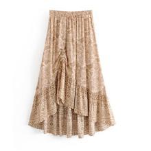 Vintage Skirt Chic Ginger Floral Long Skirt Women 2020 Fashion Elastic Waist  Pleated Summer Beach Skirts Casual Saia