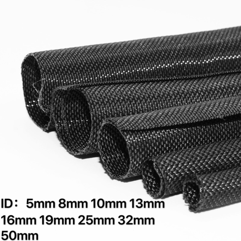 10m Black Cable Braided Sleeve Expandable Insulated PET High Density Wire Protec