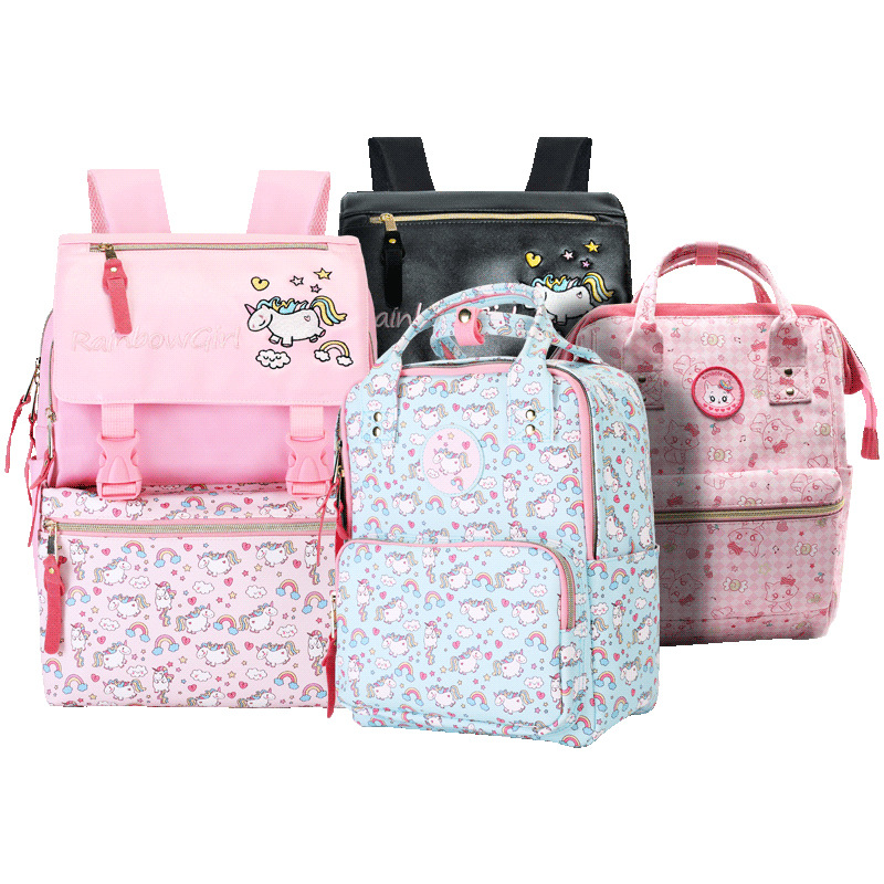 Anime Unicorn Backpack Girls Cartoon Kids Kindergarten Bag Rainbow Children School Bags Bookbag Kawaii School Backpacks Gift