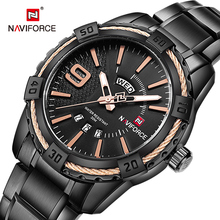 NAVIFORCE Watch Men Business Casual Date and Day Display Quartz Clock Military Sports Stainless Steel Waterproof Wristwatch Male olevs charm men business watches luminous hands clock watch day and date stainless steel bracelet waterproof wristwatch for man