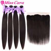 Paquets malaisiens de cheveux droits avec fermeture frontale 100% cheveux humains 3/4 paquets avec cheveux frontaux Miss Cara Remy avec fermeture