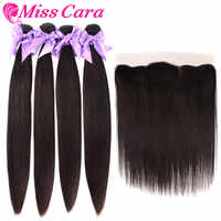 Malaysian Straight Hair Bundles With Frontal Closure 100% Human Hair 3/4 Bundles With Frontal Miss Cara Remy Hair With Closure