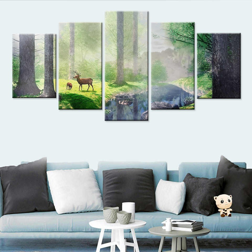 Modern Nordic Canvas Art Print and Poster Forest fawn landscape Bedroom Decor Canvas Painting Wall Picture Home Decoration