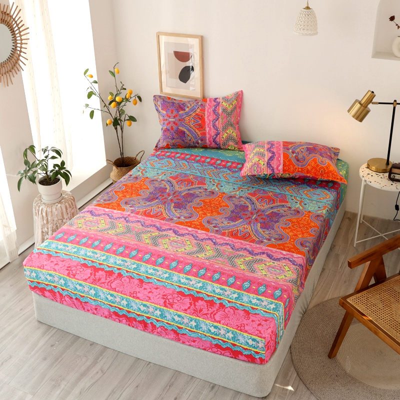 Bonenjoy 3 pcs Fitted Bed Sheets Single drap de lit Geometric Pattern Stitching Mattress Cover with elastic For Double Bed Sheet 20