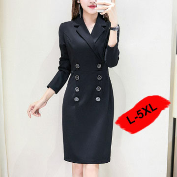 WEIMENG Women Suit 2020 Robe Blazer Femme Double-Breasted Plus Size Blazer Robe Women'S Dress Suit Long Black Work Dress