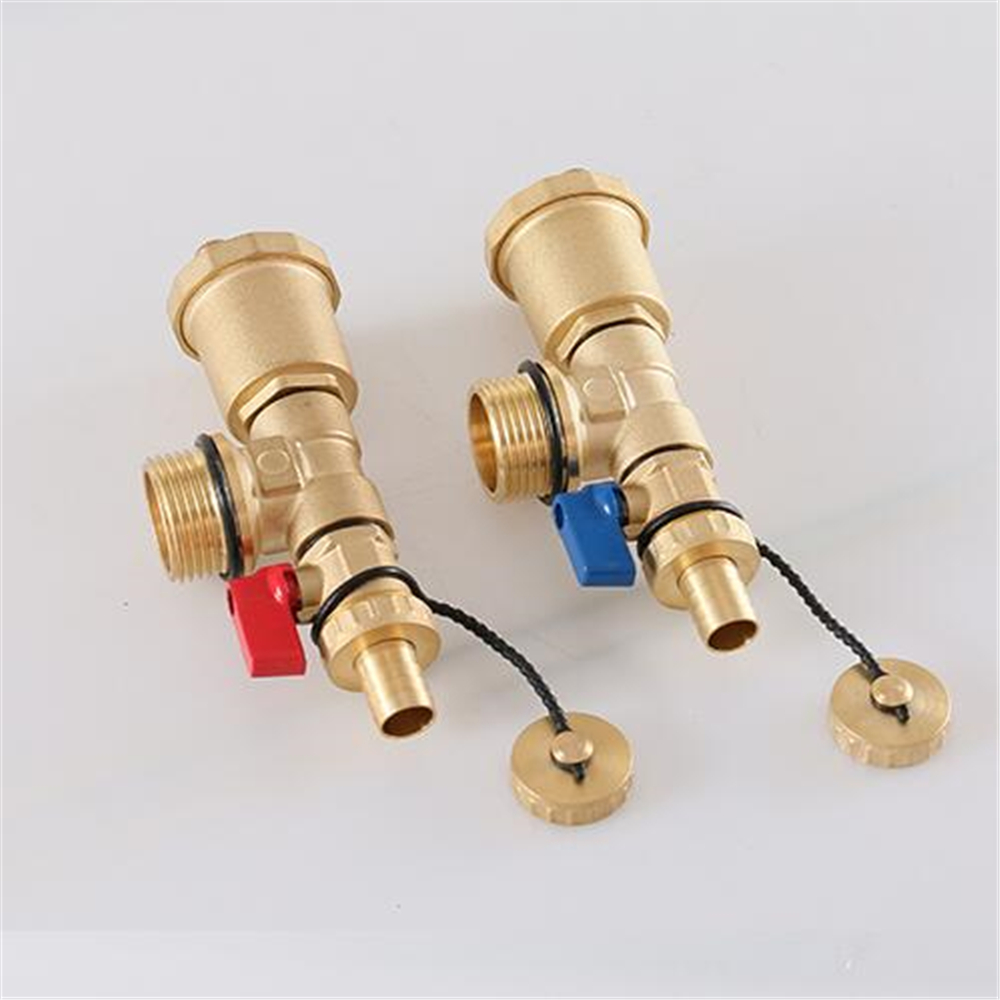 Floor Heating Water Trap End 1 Inch Outer Wire Three Tail Piece Automatic Exhaust Valve Sub-collector Red And Blue Suit