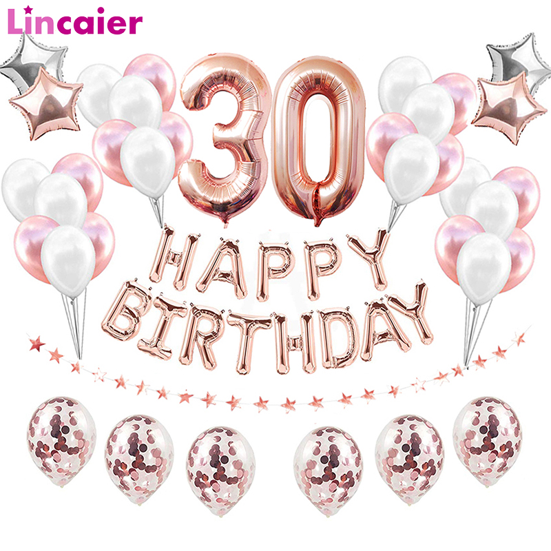 38pcs 30th 40th 50th 60th Birthday Rose Gold Birthday Party Decorations Adult Photobooth 21st 30 Photo Booth Props Accessories