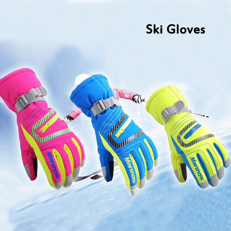 Men Women Kids Ski Gloves Winter Warm Snowboarding Snow Mittens Waterproof Windproof Skiing Breathable S/M/L/Xl