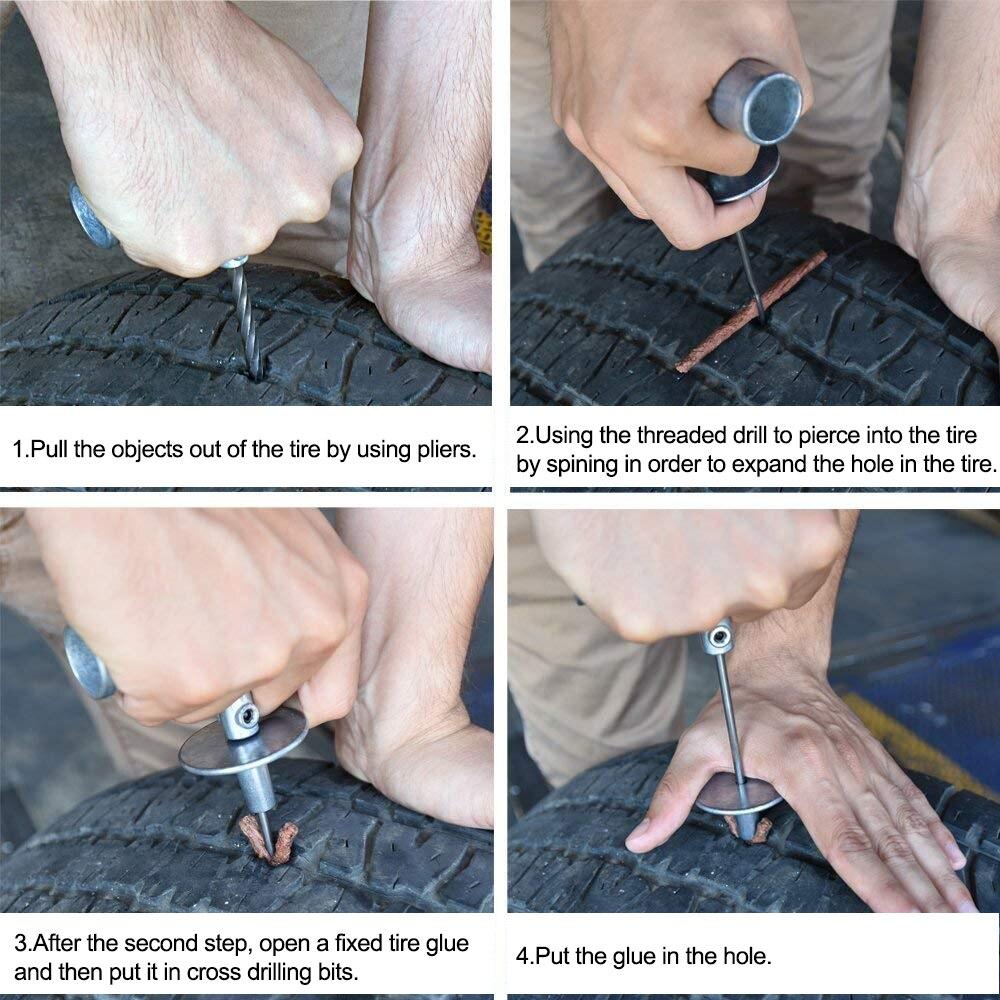 Kit de réparation de pneus 35 pièces ensemble de réparation de pneus universel pour fixer les crevaisons et la prise Patch plat Tubeless voiture camion moto pour BMW Audi