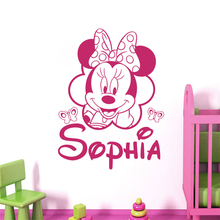 Disney Personalized Name Mickey Minnie Mouse wall Decals Nursery Girl Room bedroom accessories Decor Cute Cartoon Wall stickers