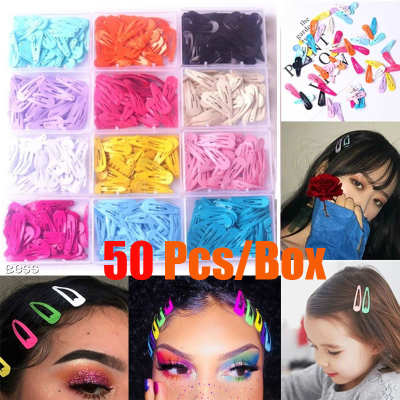 50 Pcs/Lot 3cm Cute Candy Color Baby Clip Girl Hair Accessories Princess Hairpin Mini Hairclips
