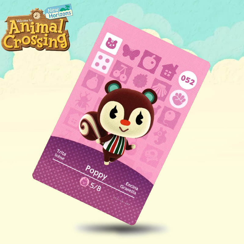 052 Poppy  Animal Crossing Card Amiibo Cards Work For Switch NS 3DS Games