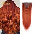 Doreen бразильские волосы ручной работы Remy от 14 до 24 120 г #350 медно-красный натуральный Прямой зажим для наращивания волос настоящие человечески...
