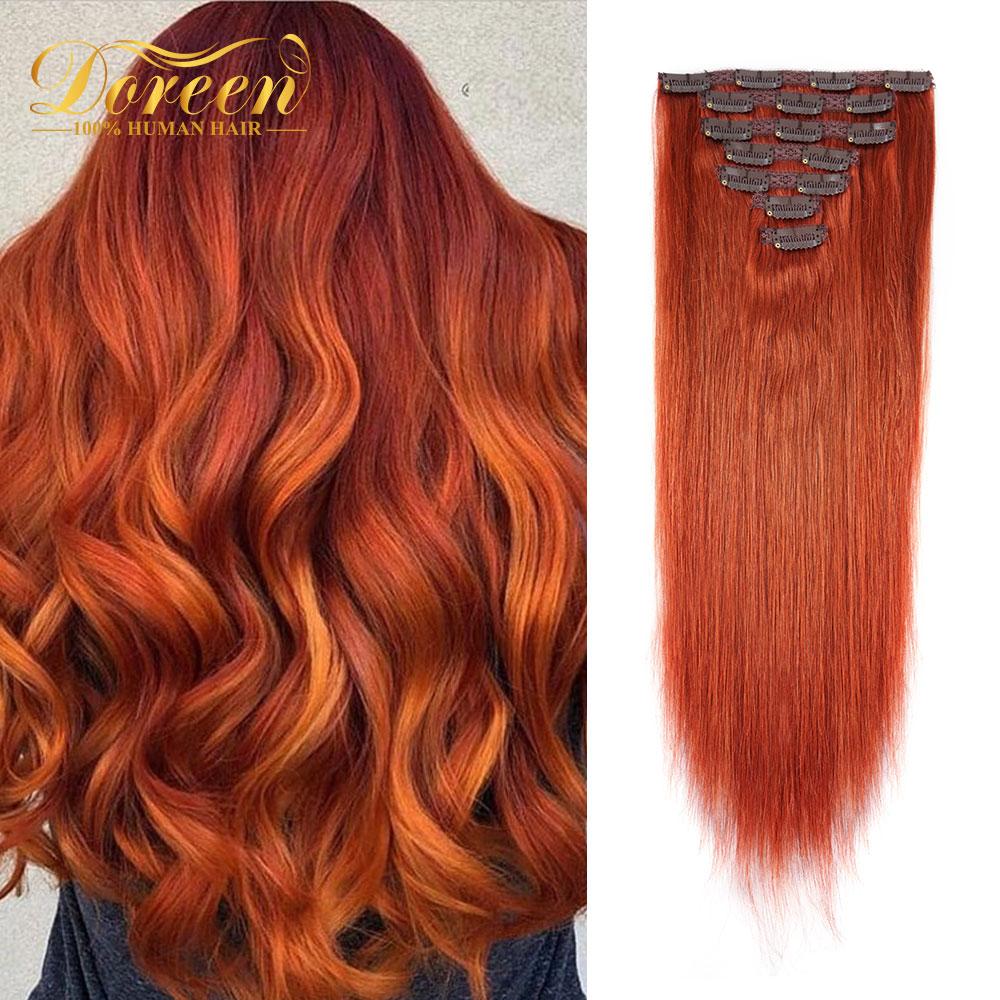 Doreen brasileiro máquina feita remy cabelo 120g #350 cobre vermelho natural grampo reto em extensões de cabelo real do cabelo humano por dhl