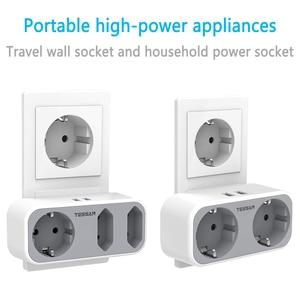 Image 1 - Tessan EUソケット付き充電アダプター,家庭,オフィス用の2つのUSBポートを備えた3つのコンセント