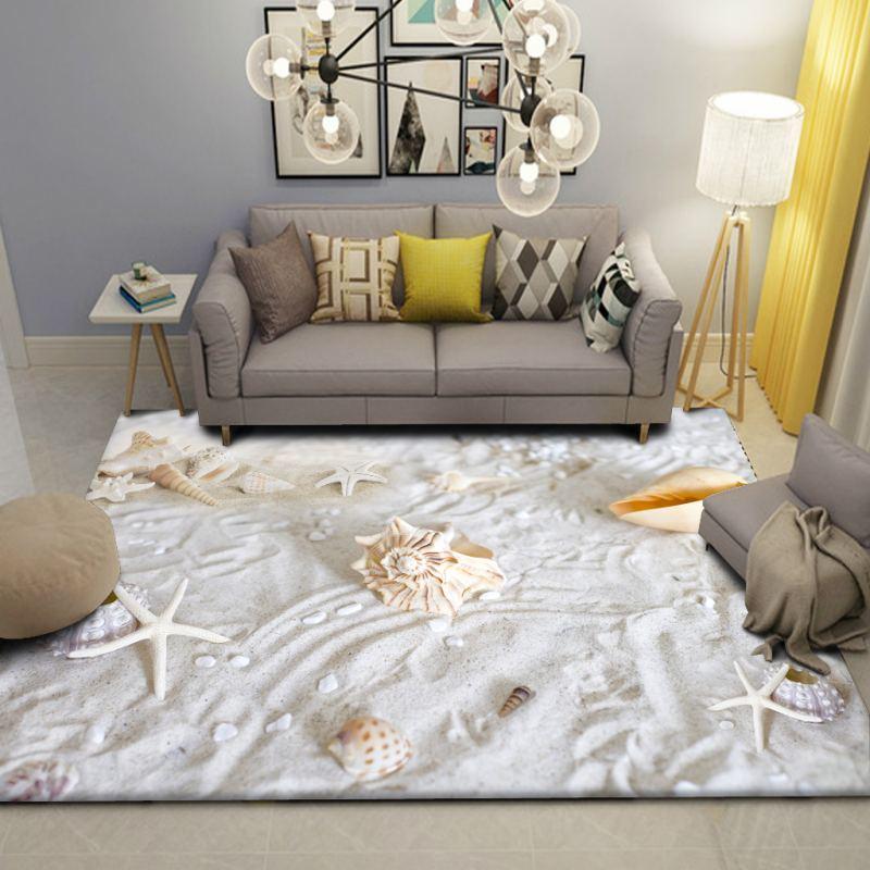 Beach Scenery Carpet Children's Room Wall to Wall Bed Blanket Style Living Room cha ji tan Bedroom Tatami Floor Mat - 4