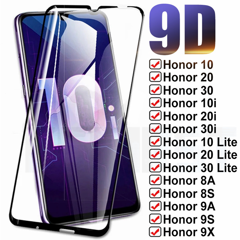 Закаленное защитное стекло 9D для Huawei Honor 10/20/30 Lite/10i/20i/30i/8X/8A/8S/9X/9A/9S/9C