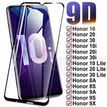9D Vidro de Proteção Completa Para Huawei Honor 10 20 30 Lite 10i 20i 30i 8X 8A 8S 9X 9A 9C 9S Tela de Proteção Temperado Vidro de Segurança