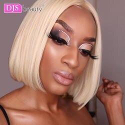 Ди-джеев Красота Синтетические волосы на кружеве человеческих волос Парики Бразильский прямые светлые Синтетические волосы на кружеве