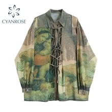 Print Vintage Blouse  Woman  Turn Down Collar 2020 Autumn Fashion casual smock blouse Loose long sleeve Lady Tops Blusa Feminina