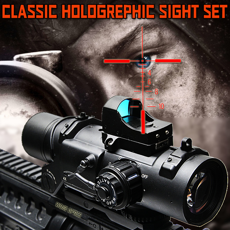 ELCAN Hunting OPTICS Tactical Rifle <font><b>Scope</b></font> Tactical RifleScope <font><b>1x</b></font>-<font><b>4x</b></font> Fixed Dual Purpose <font><b>Scope</b></font> Red illuminated Red Dot Sight image