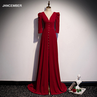 JANCEMBER Evening Dresses Vintage Dresses Woman Party Night Open Leg Burgundy Evening Gowns Front Pearl Button Obe Rouge