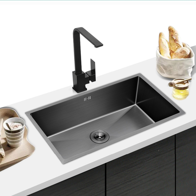 304 Stainless Steel Kitchen Sink Multiple Size Single Bowl Undermount Basin For Kitchen Fixture Improvement With Drainage