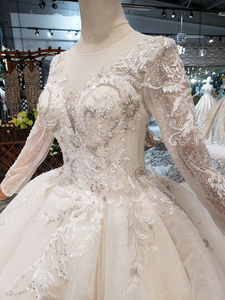 Image 5 - BGW HT569 Ball Gown Wedding Dresses Organza Illusion O neck Long Tulle Sleeves Corset Wedding Gown With Long Train 2020 Fashion