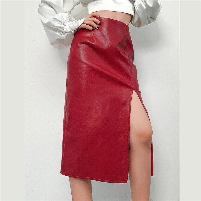 Fashion PU Leather Skirts Women Modern Ladies Split High Street Solid High Waist OL Graceful Long Skirts Leather Hot Sale 2019
