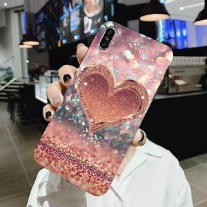 For Samsung Galaxy Note 2 3 4 5 8 9 S2 S3 S4 S5 Mini S6 S7 Edge S8 S9 Plus Sequins heart shape Color Vintage Silicone Phone Case