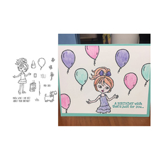 Jcarter Rubber Stamps for Scrapbooking Balloon Girl Craft Clear Stamp Silicone Seals Stencil Album Card Making Sheet 2019