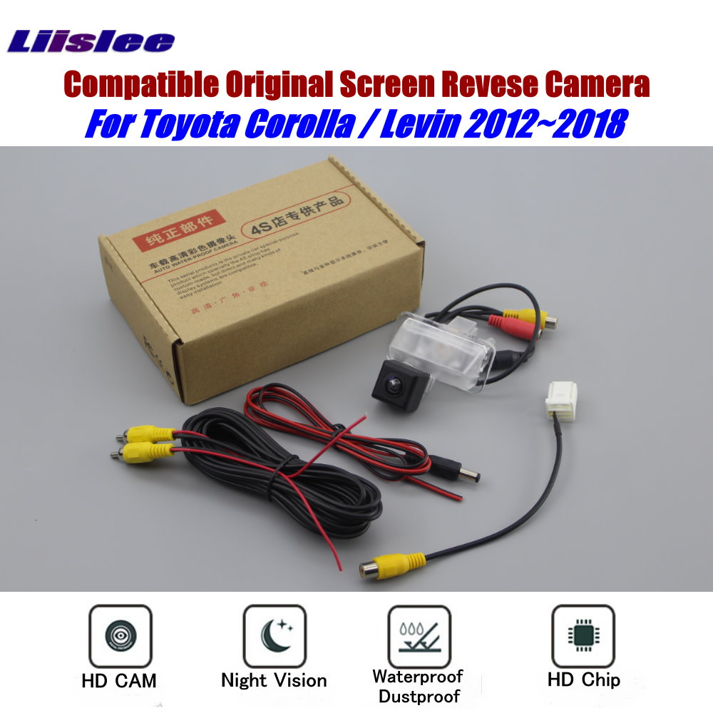 Reverse Rear View Camera For Toyota Corolla Levin 2012~2018 Connect Original Monitor Screen RCA Adapter Back Up Parking Camera image