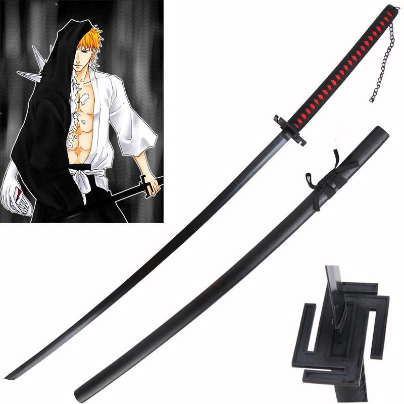 Japanese Katana Swords  Samurai 51 Inch For Bleach Anime  Cosplay Zangetsu Kurosaki Ichigo Sword Real Steel Blade Plating Black