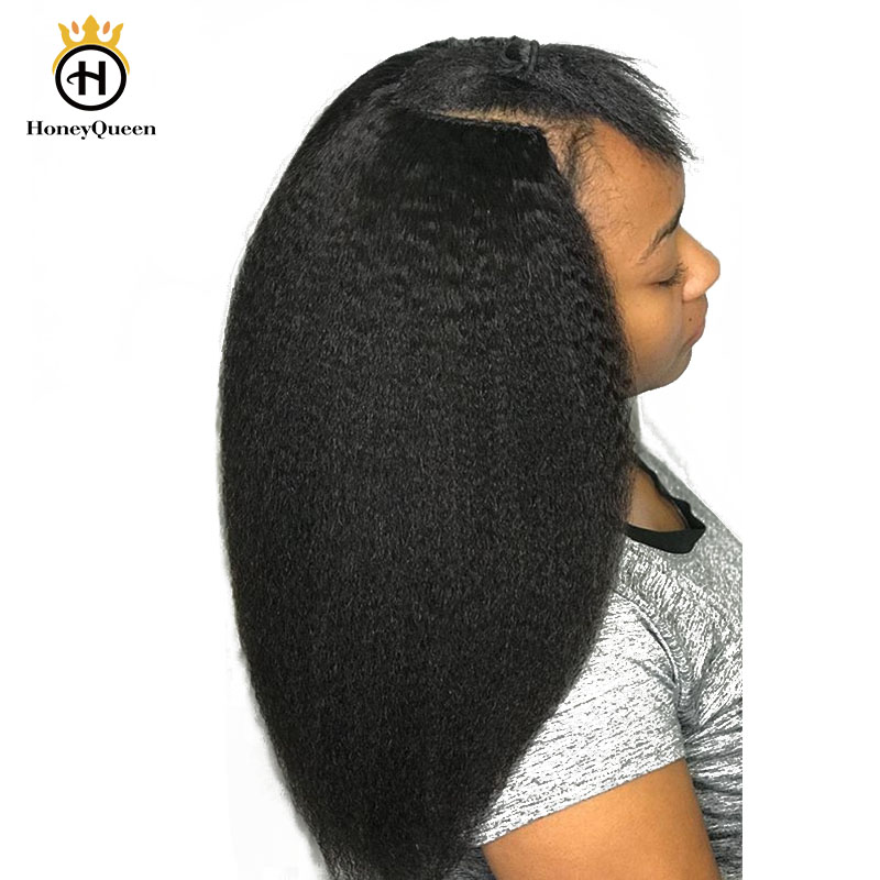 Coarse Yaki Kinky Straight Clip In Hair Extensions 100% Brazilian Human Remy Hair 7 Pieces 120g/Set Natural Color Honey Queen