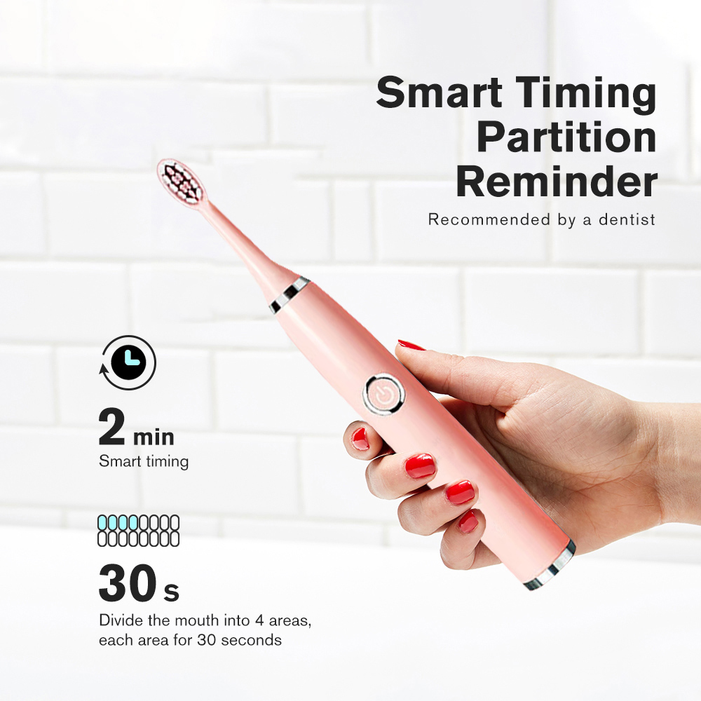 Super Sonic Electric Toothbrushes for Adults Kid Smart Timer Whitening Toothbrush IPX7 Waterproof Replaceable AA Battery Version 5