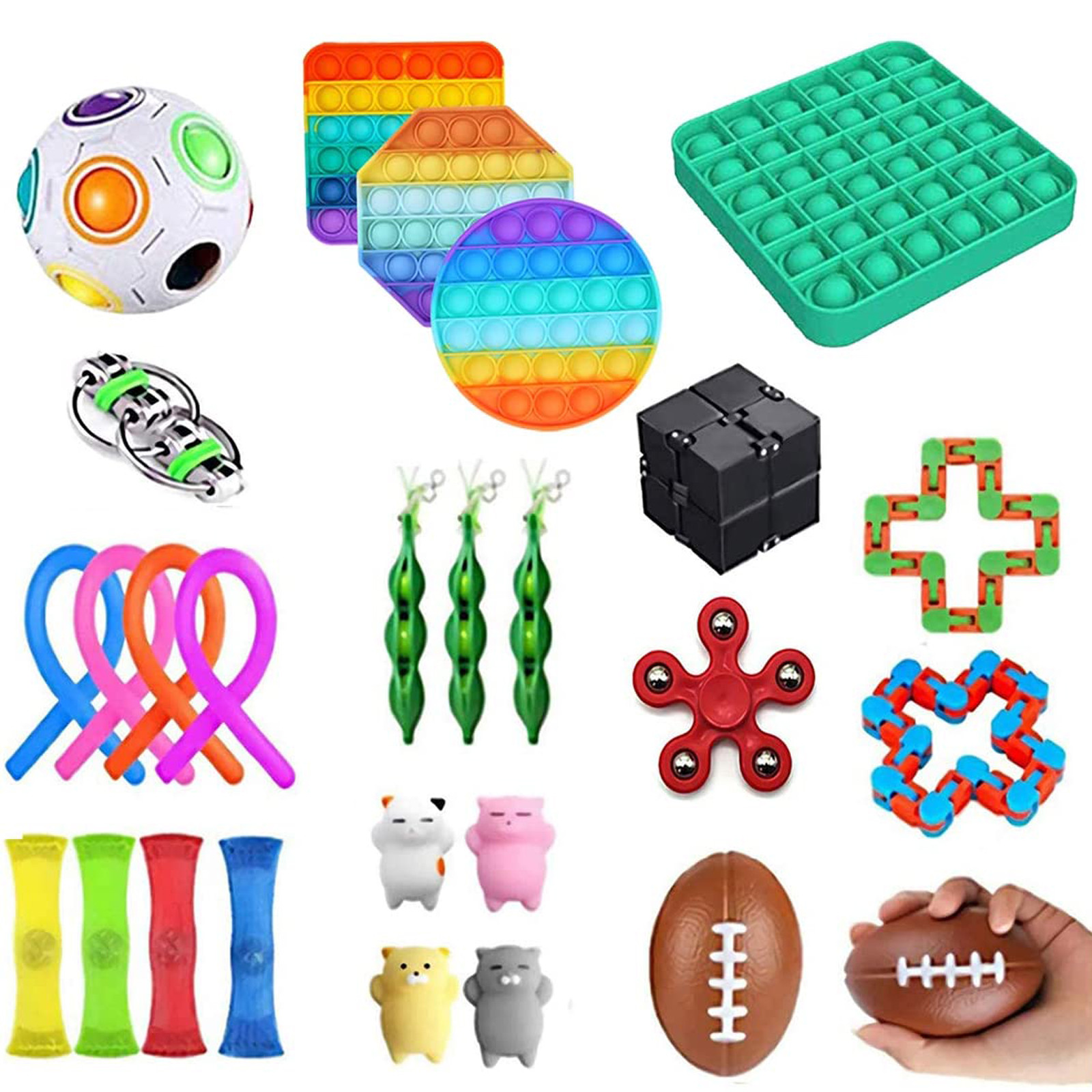 Fidget-Toys Anti-Stress-Set Sensory Gift-Pack Strings Relief Squishy Adults Kids Stretchy img4