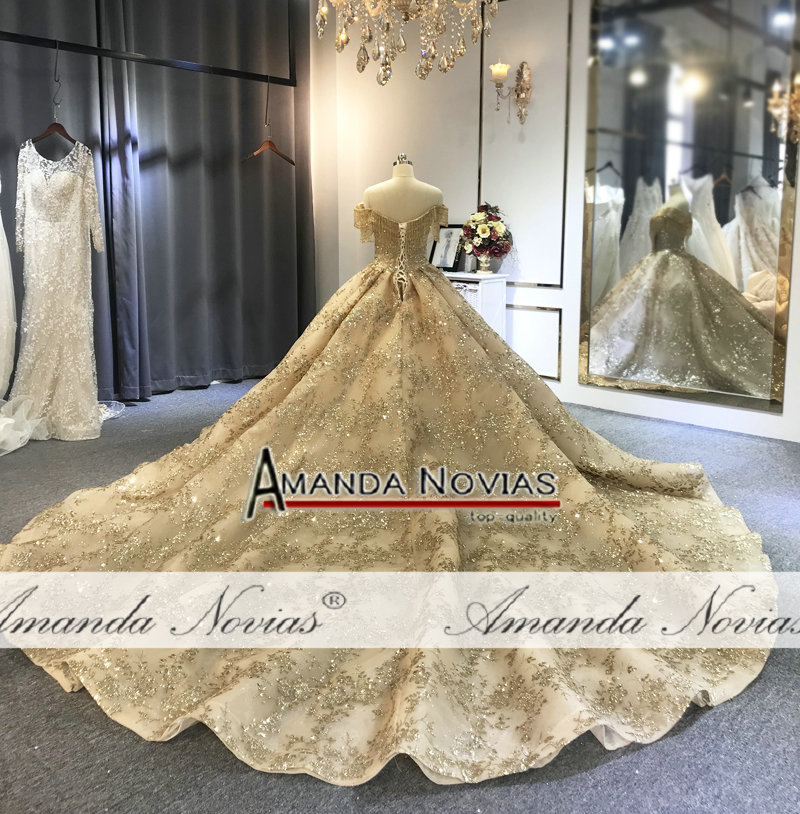 Image 4 - Off the shoulder golden ball gown wedding dressWedding Dresses   -
