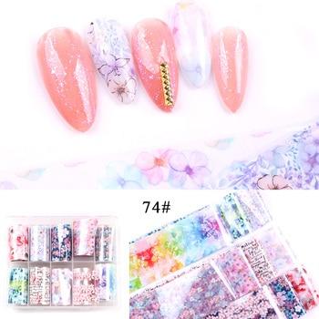 1set/lot 2.5*100cm Butterfly Spring Mix Flower Starry Sky Nail Foils set Transfer Sticker DIY Manicure Decoration Decals - 74