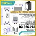 24 пластин SS PHE для теплообмена 12 кВт между водой и водой  или работает как испаритель/конденсатор в тепловых насосах водяных охладителей