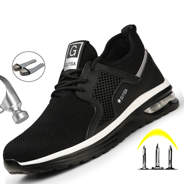 Indestructible Man Safety Shoes Light Non-Slip Work Sneakers Breathable Shoes Men Steel Toe Puncture Proof Air Mesh Safety Boots 1